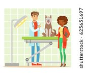cheerful woman and veterinary... | Shutterstock .eps vector #625651697