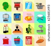supermarket service icons set.... | Shutterstock .eps vector #625681493