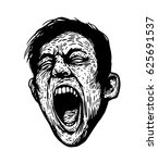 screaming man. black and white... | Shutterstock .eps vector #625691537