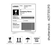 shipping label barcode template ... | Shutterstock .eps vector #625735193