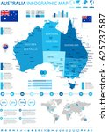australia map and flag   highly ... | Shutterstock .eps vector #625737587