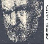 dissatisfied old bearded man.... | Shutterstock .eps vector #625755947
