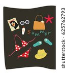 set of summer icons in flat...   Shutterstock .eps vector #625762793