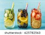 detox fruit infused water.... | Shutterstock . vector #625782563