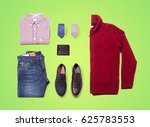 denim layout clothes on green... | Shutterstock . vector #625783553