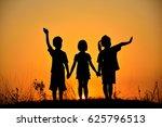 silhouette of three children... | Shutterstock . vector #625796513