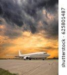 white passenger plane taxiing... | Shutterstock . vector #625801487