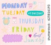super cute set of days of week... | Shutterstock .eps vector #625816193