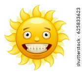 yellow merry cartoon sun with... | Shutterstock .eps vector #625833623