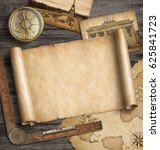 old map background with compass.... | Shutterstock . vector #625841723