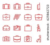 briefcase icons set. set of 16... | Shutterstock .eps vector #625862723