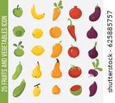 fruits and vegetables set... | Shutterstock .eps vector #625885757