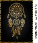 golden dreamcatcher  vector... | Shutterstock .eps vector #625901573