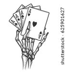 Black Jack Bones Hand Vector...