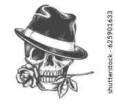 Skull In Hat With Rose Flower...