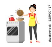 smiling housewife standing near ... | Shutterstock .eps vector #625907417