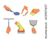 hands holding different tools... | Shutterstock .eps vector #625907657