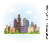 flat cityscape background. town ... | Shutterstock . vector #625930007