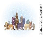 flat winter cityscape...   Shutterstock . vector #625930097