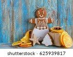 still life of gingerbread ... | Shutterstock . vector #625939817