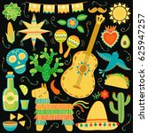vector mexico icon set. mexican ... | Shutterstock .eps vector #625947257