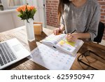 close up of a businesswoman... | Shutterstock . vector #625950947
