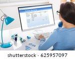 close up of a businesswoman... | Shutterstock . vector #625957097