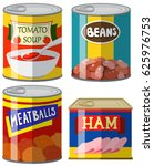 cans of preserved food with... | Shutterstock .eps vector #625976753