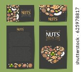 set of vector cards with nuts... | Shutterstock .eps vector #625978817