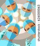 four female surgeons in gloves...   Shutterstock .eps vector #626000063