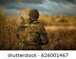 hunter in camouflage jacket on...   Shutterstock . vector #626001467