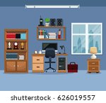 workspace bookshelf desk chair... | Shutterstock .eps vector #626019557