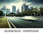 the light trails on the modern... | Shutterstock . vector #626041643