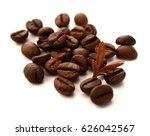 roasted coffee beans isolated... | Shutterstock . vector #626042567