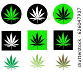 set of cannabis leaf buttons ... | Shutterstock .eps vector #626047937