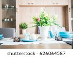 dining table is set for a...   Shutterstock . vector #626064587