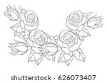 adult coloring page flowers and ... | Shutterstock .eps vector #626073407