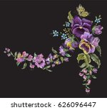 embroidery jeans floral pattern ... | Shutterstock .eps vector #626096447