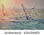 windsurfer surfing the wind on... | Shutterstock . vector #626104403