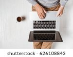 top view of young asian man... | Shutterstock . vector #626108843