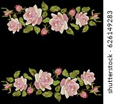 roses embroidery with leaves... | Shutterstock .eps vector #626149283