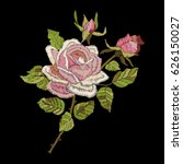roses embroidery on black... | Shutterstock .eps vector #626150027