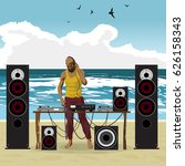 summer party  dj afro man and...   Shutterstock .eps vector #626158343
