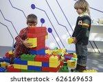 two boys constructing a man... | Shutterstock . vector #626169653