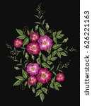 embroidery wild roses  dogrose... | Shutterstock .eps vector #626221163