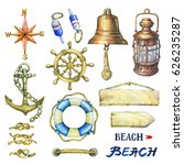 set of nautical objects. hand... | Shutterstock . vector #626235287