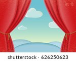 red curtains and draperies...   Shutterstock .eps vector #626250623