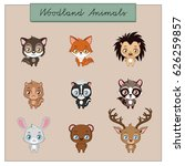 collection of woodland animals | Shutterstock .eps vector #626259857