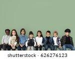 happy diverse group of kids... | Shutterstock . vector #626276123
