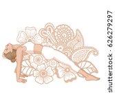 women silhouette. upward plank... | Shutterstock .eps vector #626279297